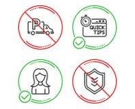 Snelle uiteinden, Vrachtwagenparkeren en geplaatste Vrouwenpictogrammen Schildteken Nuttige trucs, Vrij park, Meisjesprofiel Vect vector illustratie