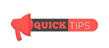 Snelle uiteindenaffiche die advies geven Handgebaar en krantekop in zwart blok wordt geplaatst dat stock illustratie