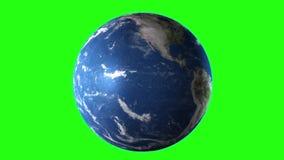 Snelle vlucht aan aarde - zoem aan aarde in ruimte op het Groene Scherm Hoog gedetailleerde textuur royalty-vrije illustratie