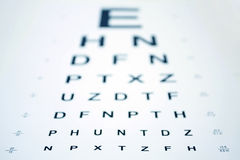 Snellen Eye Chart. With shallow depth of field stock photo