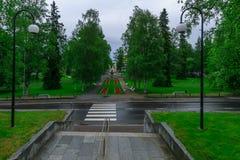 Snellmanin Puisto parkerar, i Kuopio Royaltyfri Bild