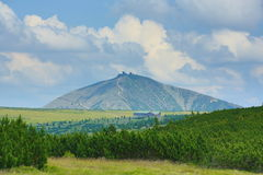 Snezka, Schneekoppe,大山(捷克:Krkonose), Riesengebirge,捷克, Polannd 免版税库存照片