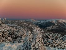 Snezka. Evening view of the highest mountain of Czech Republic Royalty Free Stock Photos