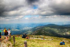 Snezka- Giant Mountains. Snezka Polish Śnieżka, German Schneekoppe is the highest mountain of the Krkonoše Mountains and the highest mountain of the Czech Stock Photo