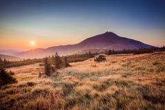 Snezka im Sonnenaufgang Stockfotos
