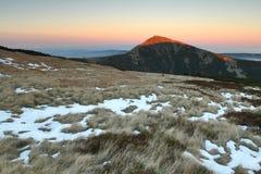 Snezka mountain with sunset Stock Image