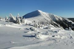 Snezka szczyt w Krkonose górach Fotografia Stock