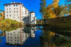 Sneznik Castle reflecting in the pond. The picturesque 13th-century Sneznik Castle Grad Snežnik, Schloß Schneeberg reflecting in the pond, located in Loška Stock Image