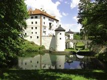 Sneznik castle, Slovenia. Sneznik castle near Cerknica intermittent lake, Slovenia.Sneznik Castle is a 13th-century castle located in Slovenia Stock Photo
