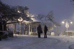 Snöfall i Istanbul Fotografering för Bildbyråer