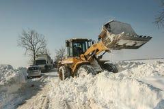 Snöfall på vägen Fotografering för Bildbyråer