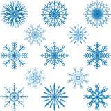 Snöflingavektoruppsättning Fotografering för Bildbyråer