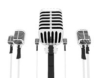 Sånger eller sjunga för Mic Musical Shows Music Microphones grupp Arkivfoto