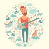 Sängerkarikaturgitarrist, der Gitarre auf einem bunten Hintergrund spielt Stockfotos