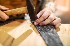 Snickare som arbetar med hammaren i hans seminarium Royaltyfri Foto