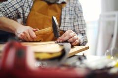 Snickare som arbetar med hammaren i hans seminarium Fotografering för Bildbyråer