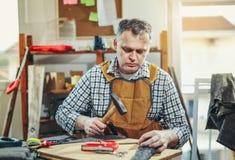 Snickare som arbetar med hammaren i seminarium Royaltyfri Bild