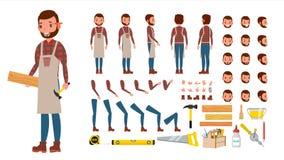 Snickare Vector Livlig yrkesmässig teckenskapelseuppsättning stock illustrationer