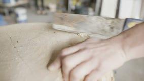 SnickareCutting Wood With Handsaw i seminarium stock video