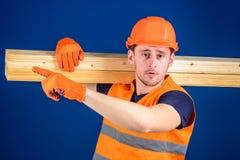 Snickaren inredningssnickare, den starka byggmästaren på strikt framsida bär trästrålen på skuldra Trämaterialbegrepp man in Royaltyfria Foton