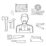 Snickaren med timmer och hjälpmedel skissar symboler stock illustrationer