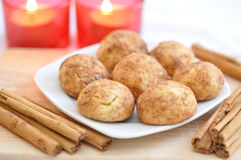 Snickerdoodle Cookies. With Cinnamon and Candles Royalty Free Stock Photo