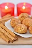 Snickerdoodle Cookies. With Cinnamon and Candles royalty free stock photography