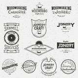 Snickeri förser med märke logoer och etiketter för några bruk stock illustrationer