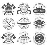 Snickeri och emblem för inredningssnickarevektortappning stock illustrationer
