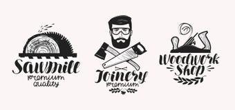 Snickeri sågverketikettuppsättning Träverk shoppar symbolen eller logo Handskriven bokstäver, kalligrafivektorillustration