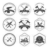 Snickerihjälpmedel Etiketter och designbeståndsdelar Arkivbilder