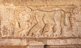 Snida för basrelief av en jaguar, Tula de Allende, Mexico Royaltyfria Bilder