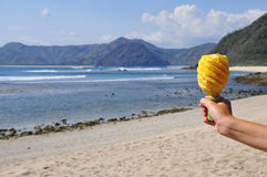 Sniden ananas i handen, strand Royaltyfri Foto