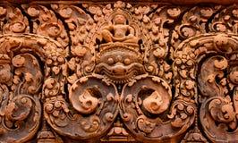 Sniden Banteay Srei tempelsten Arkivfoto