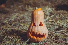 sniden halloween pumpa Allhelgonaaftonpumpa som grinar i det mest onda modeet Spöklik lykta för allhelgonaaftonstålarnolla Pumpa  arkivbilder