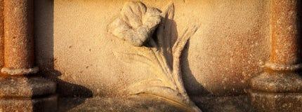 Sniden sandstenblomma på den red ut gravstenen fotografering för bildbyråer
