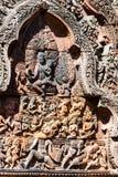 Sniden sten av Banteay Srei arkivfoto