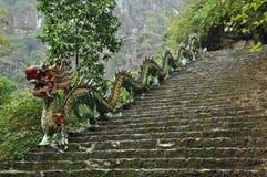 Sniden stendrake Stigande trappuppgång till den Hang Mua pagoden, Nin royaltyfri foto