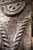 sniden traditionell wood tappning för prydnad Arkivfoto