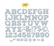 Snidit alfabet för vektor sten bokstäver nummer som göras av stenen vektor illustrationer
