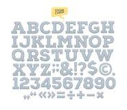 Snidit alfabet för vektor sten bokstäver nummer som göras av stenen stock illustrationer