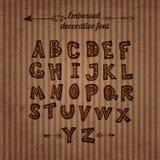 Snidit alfabet med dekoren inom bokstäverna royaltyfri illustrationer