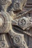 snidit för konarktempel för detalj hinduiskt hjul Arkivbild
