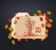 Snidit gifta sig kuvert Ask och kuvert för mallfotobok med dekorativa höstbeståndsdelar vektor illustrationer