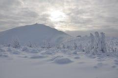 Sniezka śnieżny szczyt w Sudetenland obrazy stock