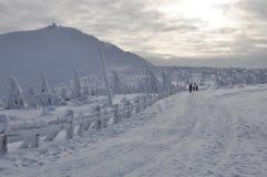 Sniezka snowy peak in the Sudetenland Stock Photos