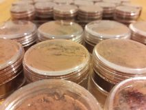 Sniff cacao in plastic containers. Which includes raw cacao without cocoa butter Royalty Free Stock Photography