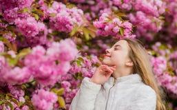 Sniffa blommor r Flicka som tycker om blom- arom Botanikbegrepp Unge som tycker om den körsbärsröda blomningen royaltyfri fotografi