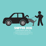 Sniffer Dog Smell At Car's Trunk Royalty Free Stock Image