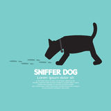 Sniffer Dog Smell Footprint On Ground Stock Image